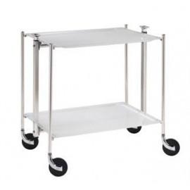 Table roulante 2 plateaux stratifiés Platex Blanc