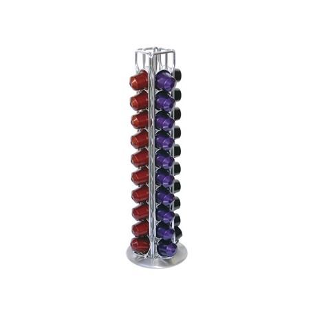 Porte capsules Nespresso en fil d'inox pivotante à poser pour 40 capsules