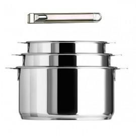 Coffret 3 casseroles amovibles Multiply en inox et poignée inox Zenith